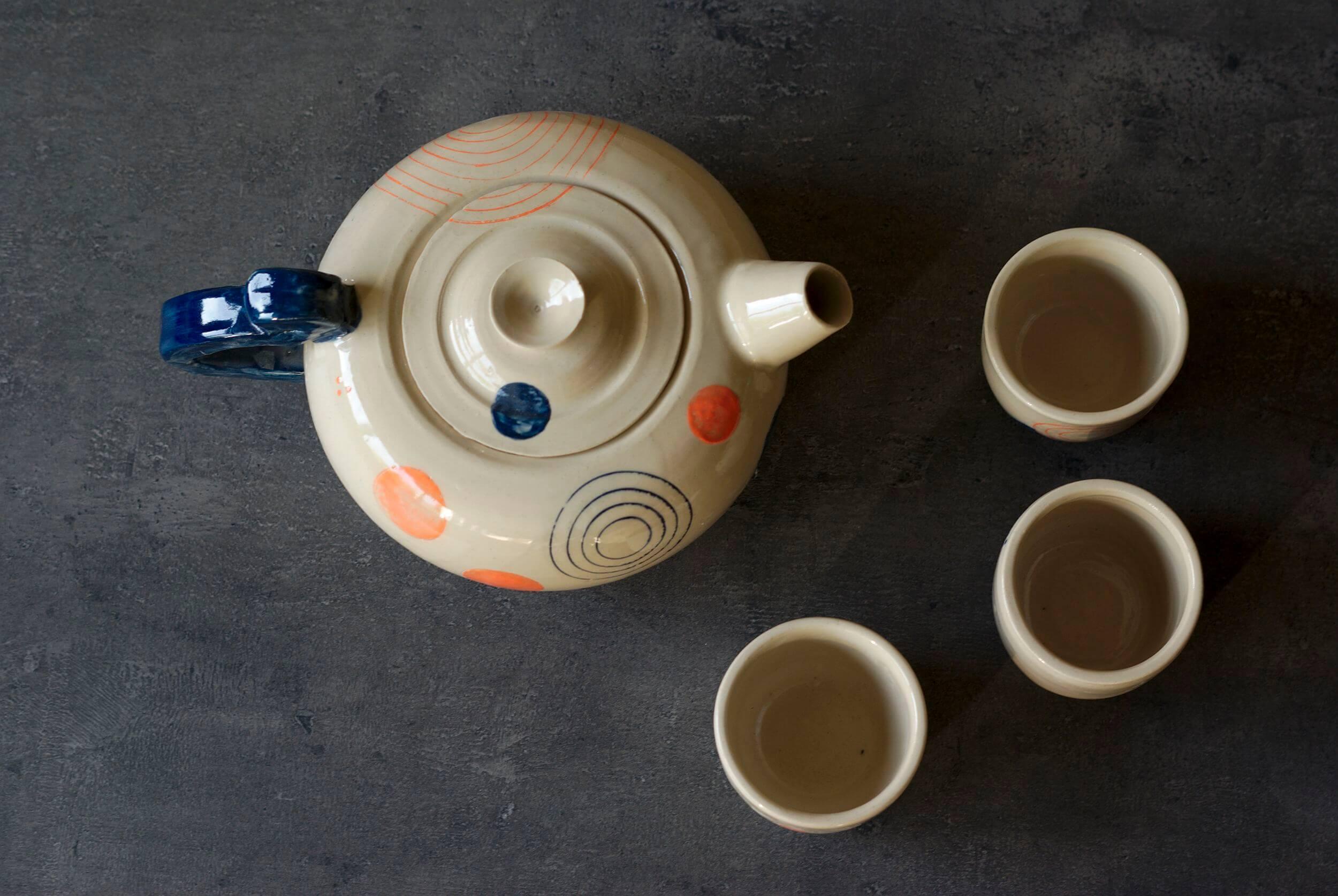 Théière et tasses géométriques, L'atelier Sy